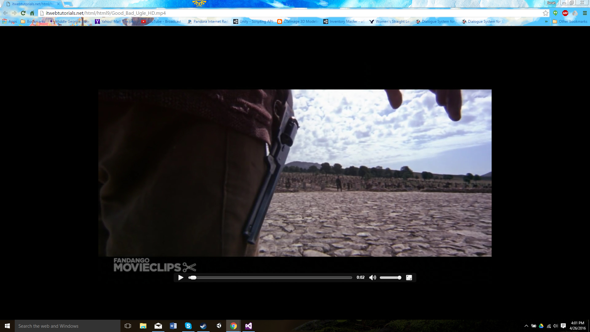 Separate browser window with video.